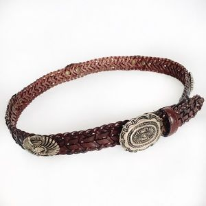 Accessories - Leather Braided Brown Belt w/Tooled Silver Buckle